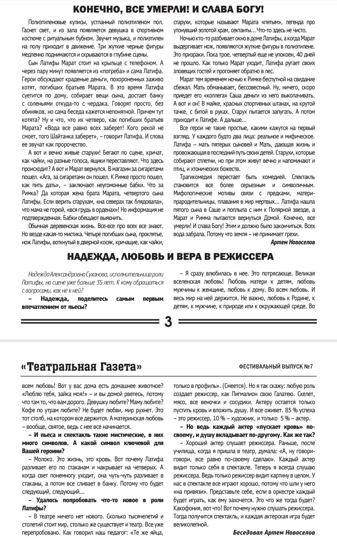 Полное интервью актрисы Надежды Сухановой Коляда-plays2018